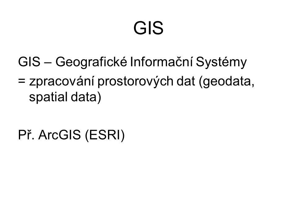 GIS GIS – Geografické Informační Systémy = zpracování prostorových dat (geodata, spatial data) Př.