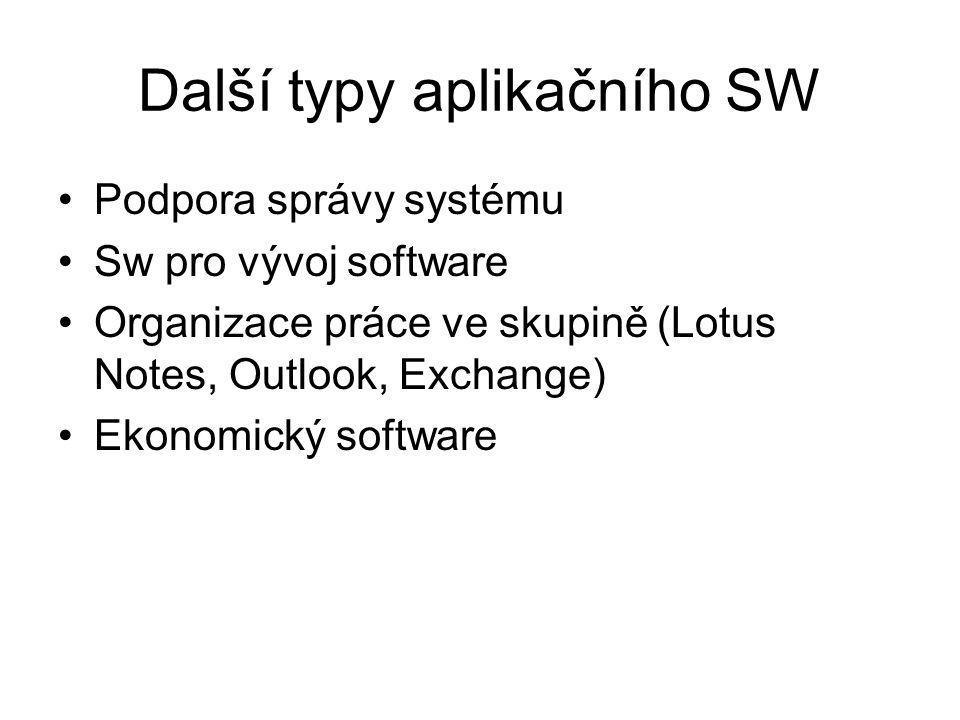 Další typy aplikačního SW Podpora správy systému Sw pro vývoj software Organizace práce ve skupině (Lotus Notes, Outlook, Exchange) Ekonomický software