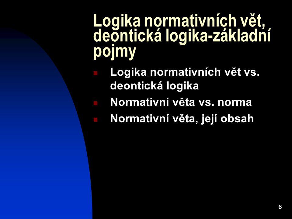 6 Logika normativních vět, deontická logika-základní pojmy Logika normativních vět vs. deontická logika Normativní věta vs. norma Normativní věta, jej