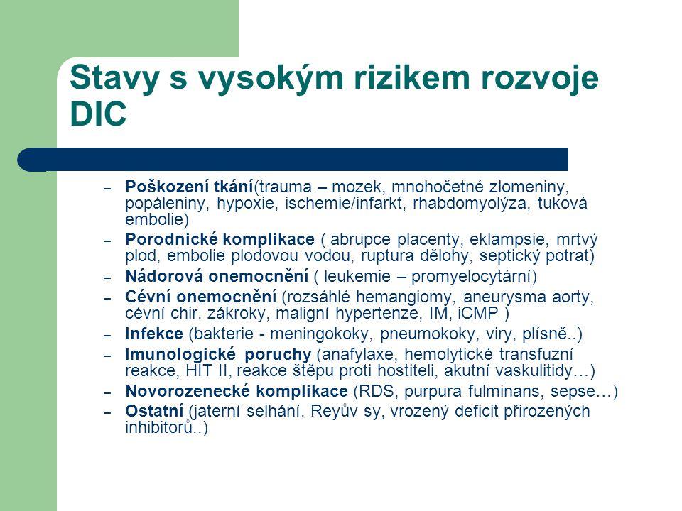 Stavy s vysokým rizikem rozvoje DIC – Poškození tkání(trauma – mozek, mnohočetné zlomeniny, popáleniny, hypoxie, ischemie/infarkt, rhabdomyolýza, tuko