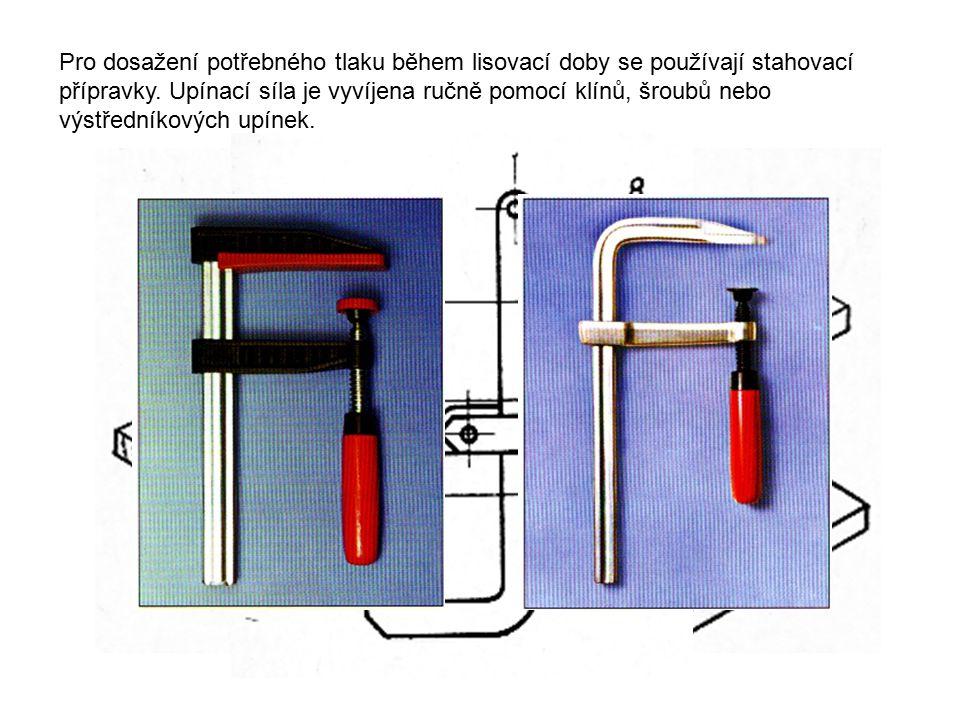 Pro dosažení potřebného tlaku během lisovací doby se používají stahovací přípravky.