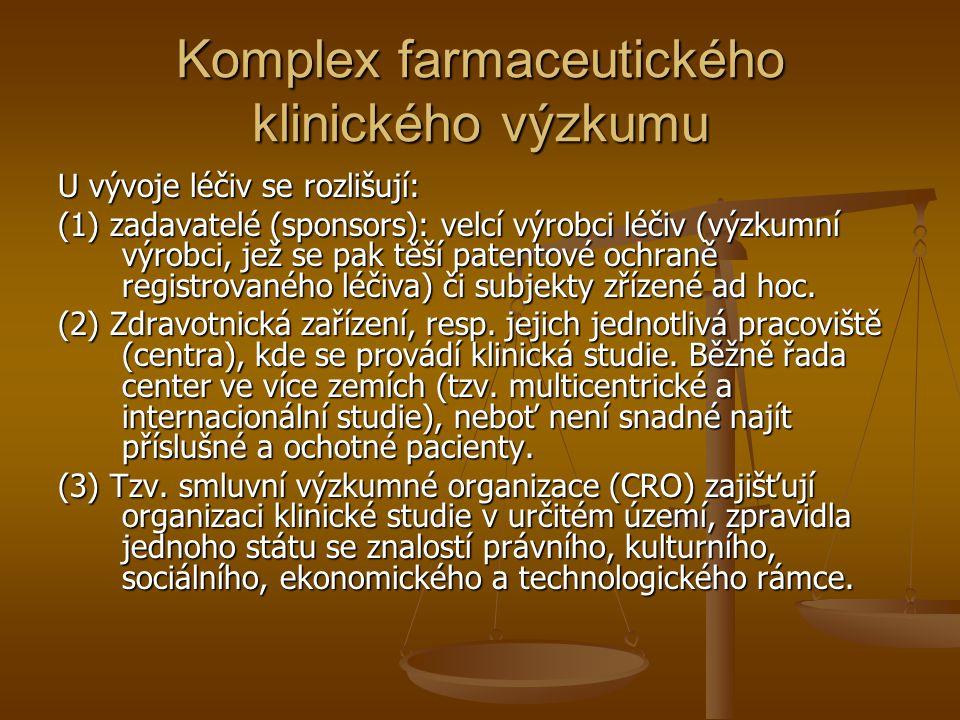 Komplex farmaceutického klinického výzkumu U vývoje léčiv se rozlišují: (1) zadavatelé (sponsors): velcí výrobci léčiv (výzkumní výrobci, jež se pak t