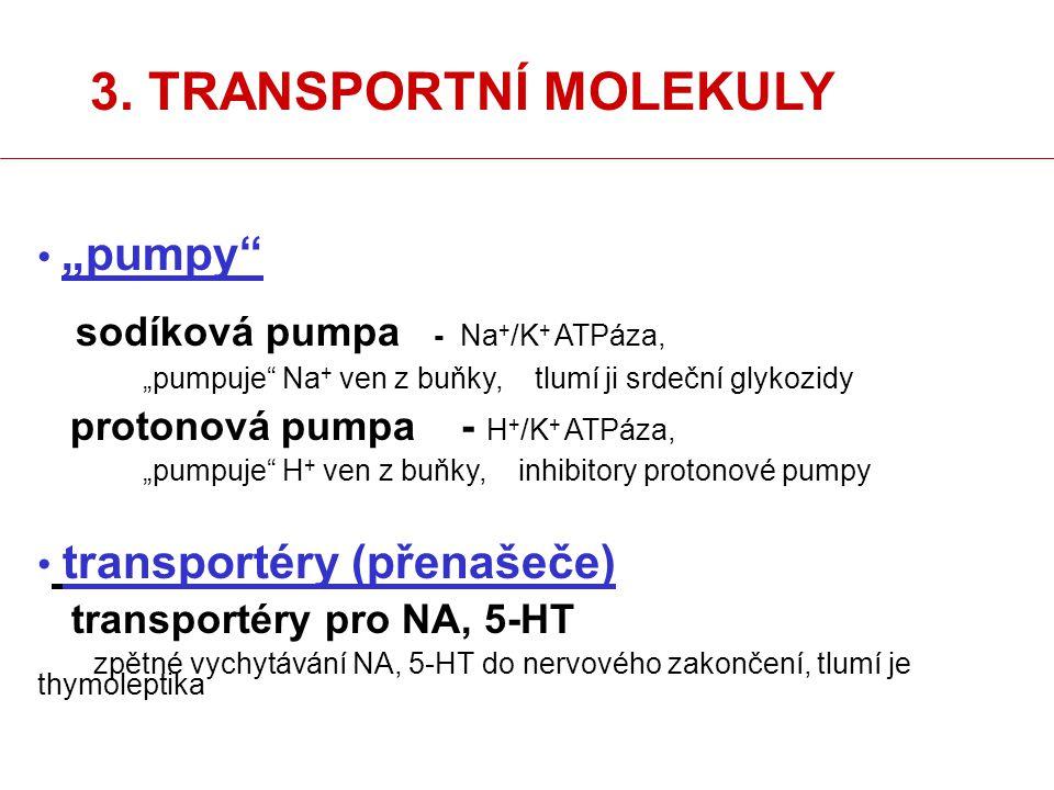 """3. TRANSPORTNÍ MOLEKULY """"pumpy"""" sodíková pumpa - Na + /K + ATPáza, """"pumpuje"""" Na + ven z buňky, tlumí ji srdeční glykozidy protonová pumpa - H + /K + A"""
