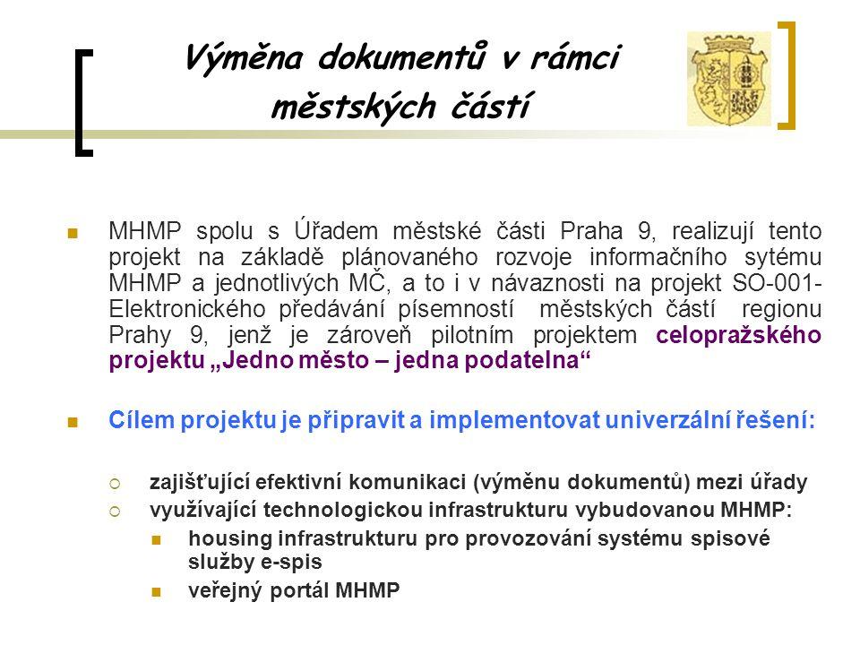 Výměna dokumentů v rámci městských částí MHMP spolu s Úřadem městské části Praha 9, realizují tento projekt na základě plánovaného rozvoje informačníh