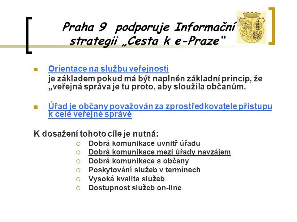 """Praha 9 podporuje Informační strategii """"Cesta k e-Praze Orientace na službu veřejnosti je základem pokud má být naplněn základní princip, že """"veřejná správa je tu proto, aby sloužila občanům."""