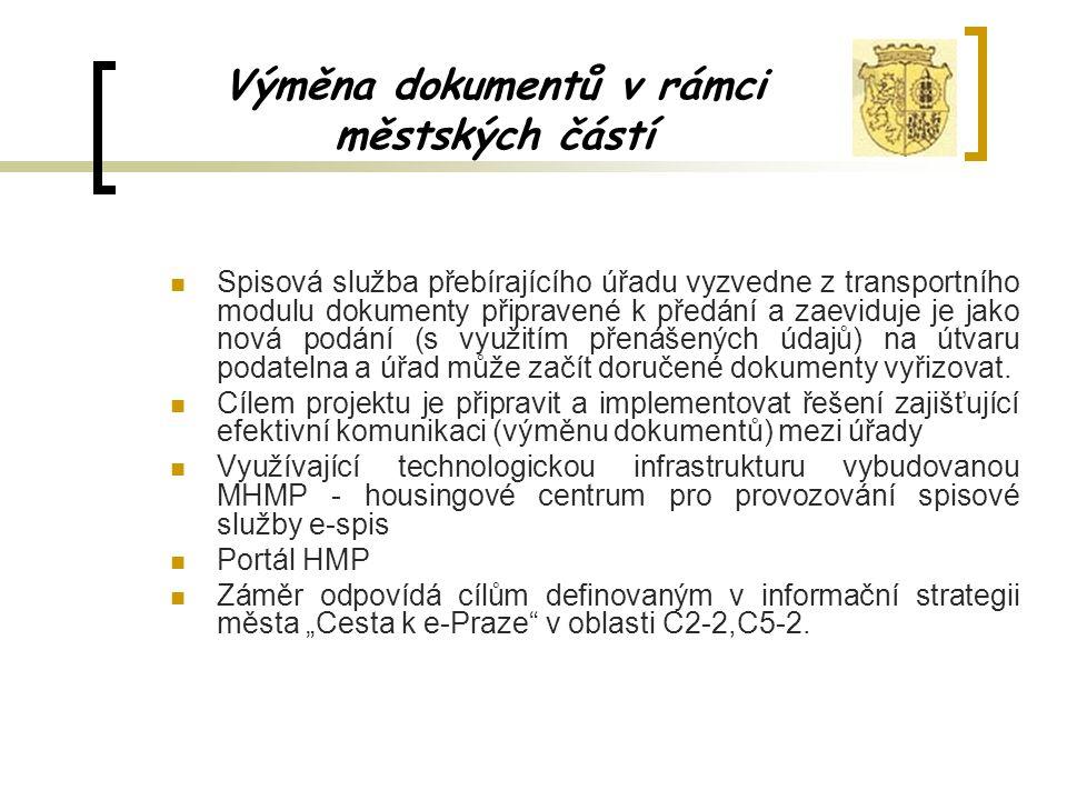 Výměna dokumentů v rámci městských částí Spisová služba přebírajícího úřadu vyzvedne z transportního modulu dokumenty připravené k předání a zaeviduje
