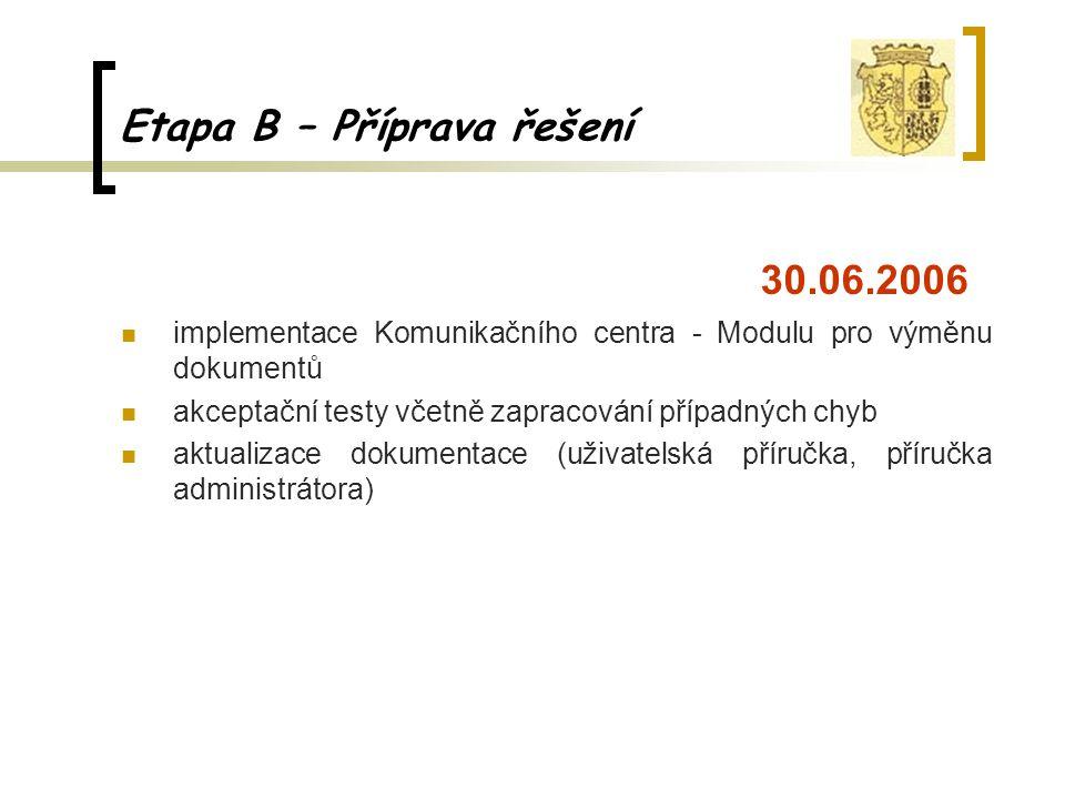 Etapa B – Příprava řešení 30.06.2006 implementace Komunikačního centra - Modulu pro výměnu dokumentů akceptační testy včetně zapracování případných ch