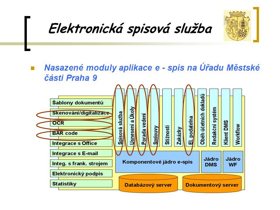 Elektronická spisová služba Nasazené moduly aplikace e - spis na Úřadu Městské části Praha 9