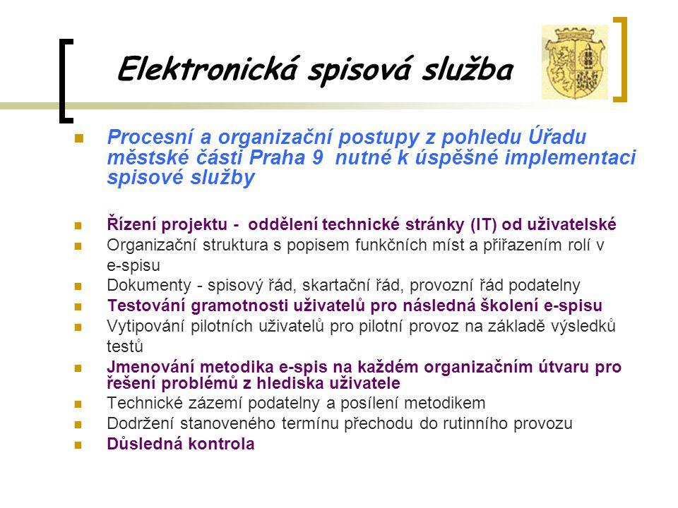 Elektronická spisová služba Procesní a organizační postupy z pohledu Úřadu městské části Praha 9 nutné k úspěšné implementaci spisové služby Řízení projektu - oddělení technické stránky (IT) od uživatelské Organizační struktura s popisem funkčních míst a přiřazením rolí v e-spisu Dokumenty - spisový řád, skartační řád, provozní řád podatelny Testování gramotnosti uživatelů pro následná školení e-spisu Vytipování pilotních uživatelů pro pilotní provoz na základě výsledků testů Jmenování metodika e-spis na každém organizačním útvaru pro řešení problémů z hlediska uživatele Technické zázemí podatelny a posílení metodikem Dodržení stanoveného termínu přechodu do rutinního provozu Důsledná kontrola