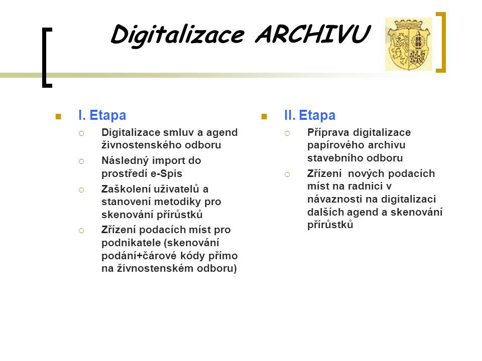 Digitalizace ARCHIVU II. Etapa  Příprava digitalizace papírového archivu stavebního odboru  Zřízení nových podacích míst na radnici v návaznosti na