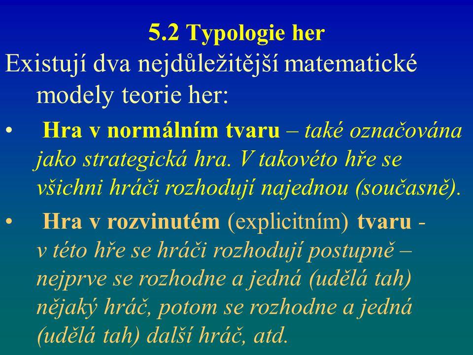 5.2 Typologie her Existují dva nejdůležitější matematické modely teorie her: Hra v normálním tvaru – také označována jako strategická hra. V takovéto