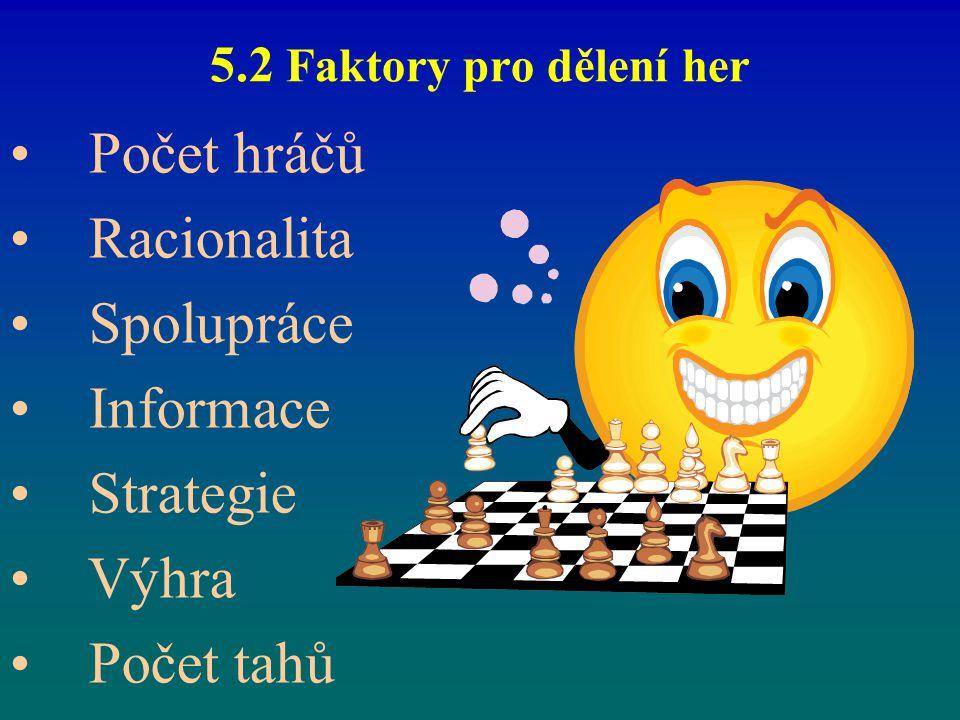 5.2 Faktory pro dělení her Počet hráčů Racionalita Spolupráce Informace Strategie Výhra Počet tahů