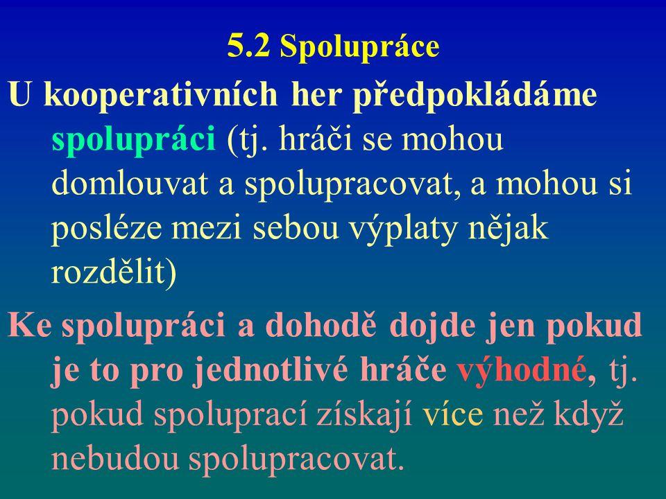 5.2 Spolupráce U kooperativních her předpokládáme spolupráci (tj. hráči se mohou domlouvat a spolupracovat, a mohou si posléze mezi sebou výplaty něja