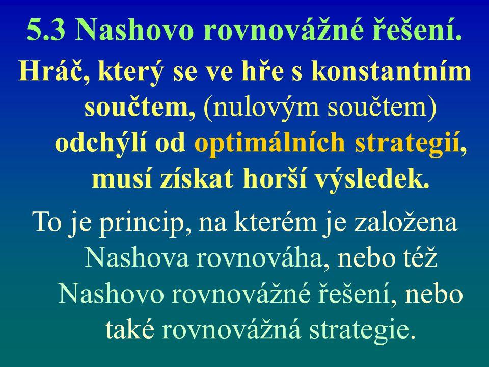 5.3 Nashovo rovnovážné řešení. Hráč, který se ve hře s konstantním součtem, (nulovým součtem) odchýlí od optimálních strategií, musí získat horší výsl