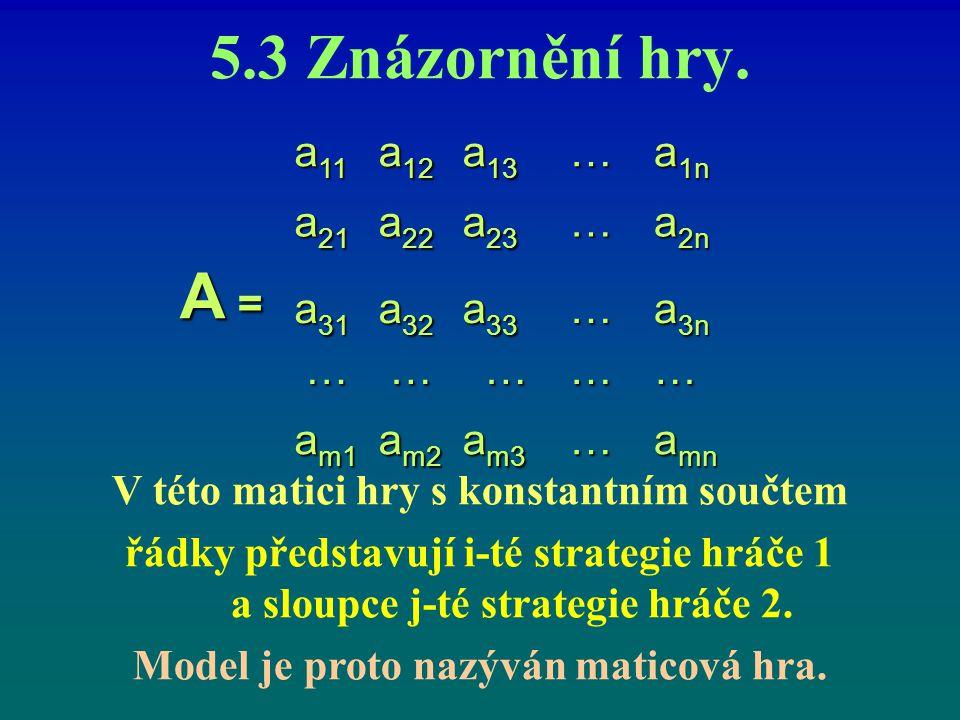 5.3 Znázornění hry. V této matici hry s konstantním součtem řádky představují i-té strategie hráče 1 a sloupce j ‑ té strategie hráče 2. Model je prot
