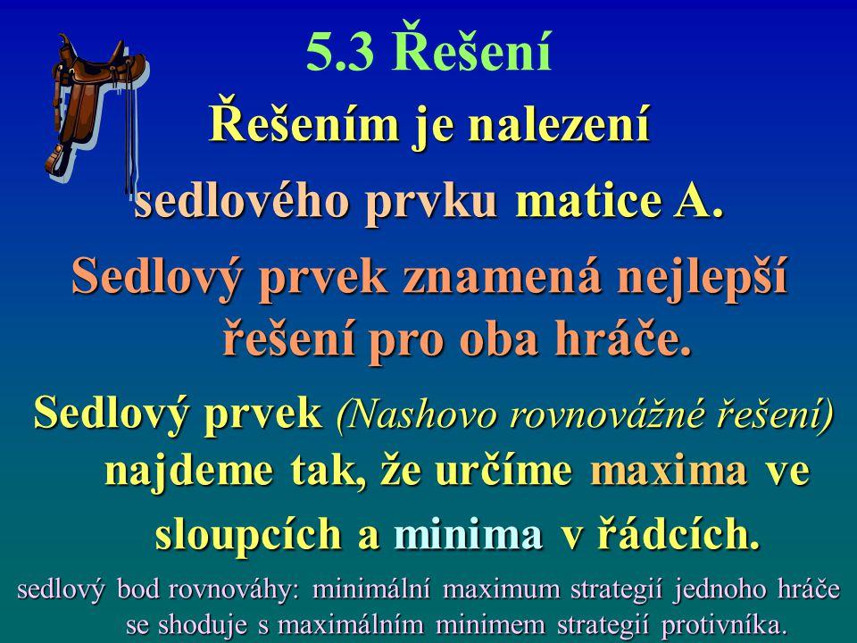 5.3 Řešení Řešením je nalezení sedlového prvku matice A. Sedlový prvek znamená nejlepší řešení pro oba hráče. Sedlový prvek (Nashovo rovnovážné řešení