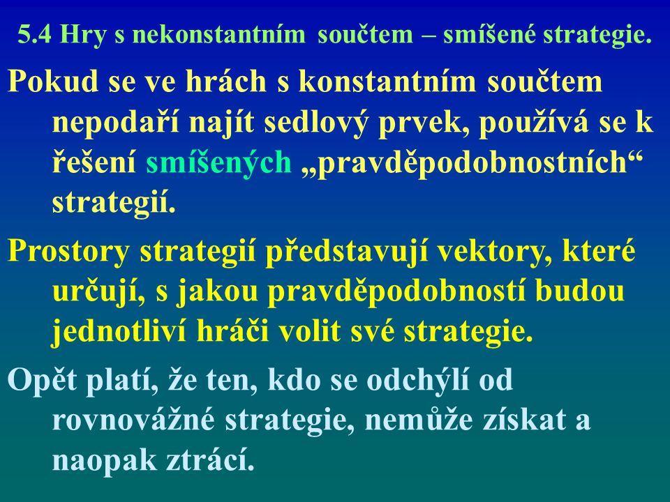 5.4 Hry s nekonstantním součtem – smíšené strategie. Pokud se ve hrách s konstantním součtem nepodaří najít sedlový prvek, používá se k řešení smíšený