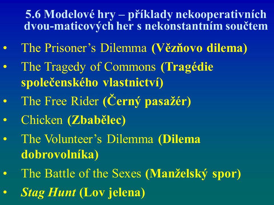 5.6 Modelové hry – příklady nekooperativních dvou-maticových her s nekonstantním součtem The Prisoner's Dilemma (Vězňovo dilema) The Tragedy of Common