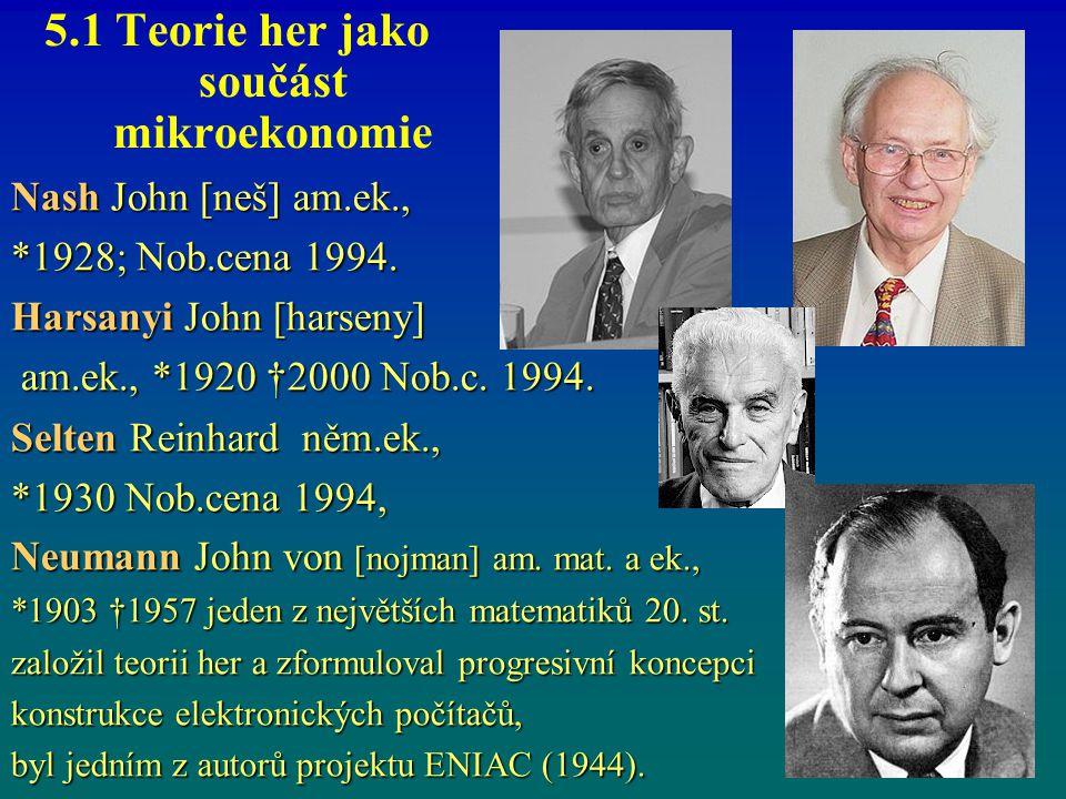 5.1 Teorie her jako součást mikroekonomie Nash John [neš] am.ek., *1928; Nob.cena 1994. Harsanyi John [harseny] am.ek., *1920 †2000 Nob.c. 1994. am.ek