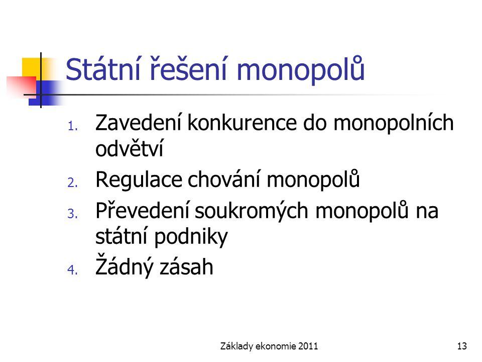 Základy ekonomie 201113 Státní řešení monopolů 1. Zavedení konkurence do monopolních odvětví 2. Regulace chování monopolů 3. Převedení soukromých mono