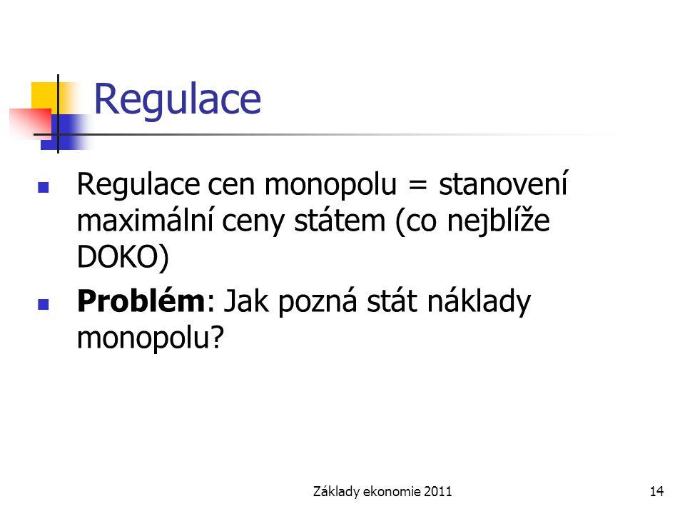Základy ekonomie 201114 Regulace Regulace cen monopolu = stanovení maximální ceny státem (co nejblíže DOKO) Problém: Jak pozná stát náklady monopolu?
