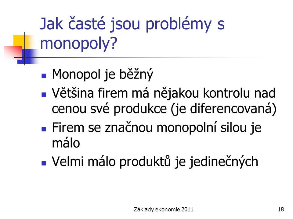 Základy ekonomie 201118 Jak časté jsou problémy s monopoly? Monopol je běžný Většina firem má nějakou kontrolu nad cenou své produkce (je diferencovan