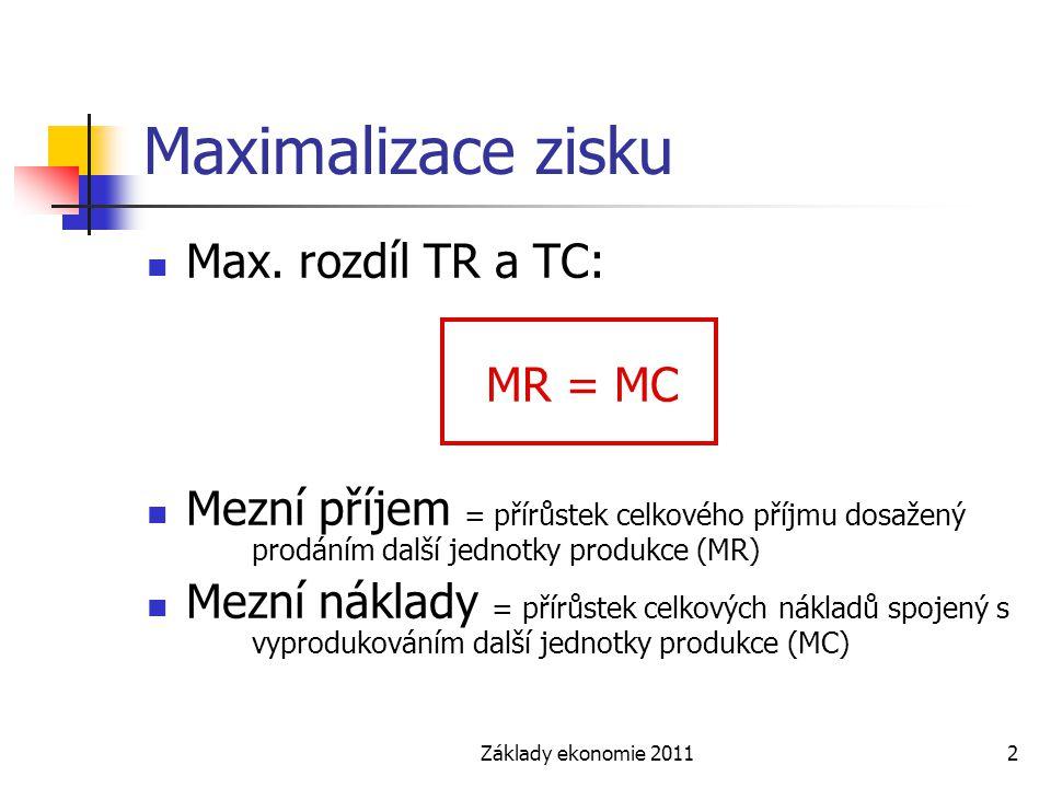 Základy ekonomie 20112 Maximalizace zisku Max. rozdíl TR a TC: MR = MC Mezní příjem = přírůstek celkového příjmu dosažený prodáním další jednotky prod