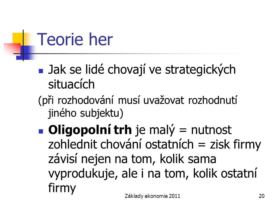 Základy ekonomie 201120 Teorie her Jak se lidé chovají ve strategických situacích (při rozhodování musí uvažovat rozhodnutí jiného subjektu) Oligopoln