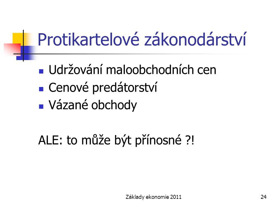 Základy ekonomie 201124 Protikartelové zákonodárství Udržování maloobchodních cen Cenové predátorství Vázané obchody ALE: to může být přínosné ?!
