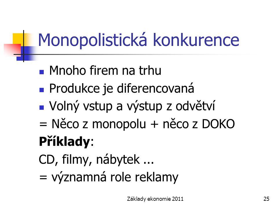 Základy ekonomie 201125 Monopolistická konkurence Mnoho firem na trhu Produkce je diferencovaná Volný vstup a výstup z odvětví = Něco z monopolu + něc