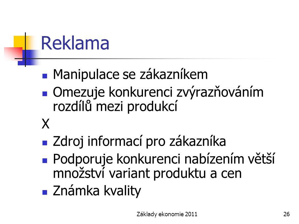 Základy ekonomie 201126 Reklama Manipulace se zákazníkem Omezuje konkurenci zvýrazňováním rozdílů mezi produkcí X Zdroj informací pro zákazníka Podpor