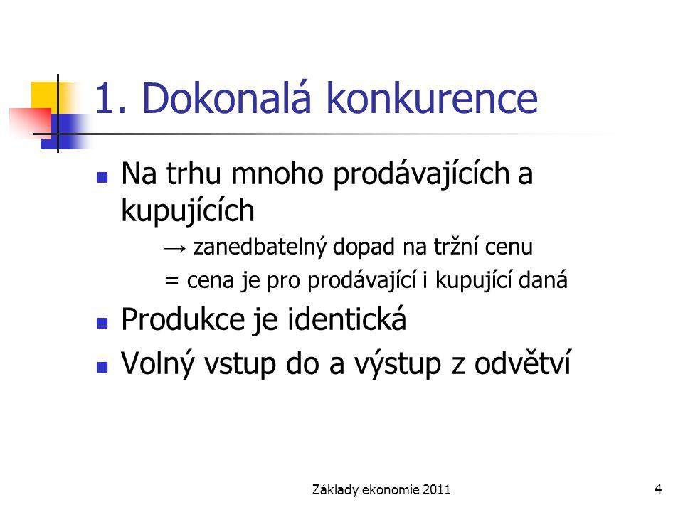 Základy ekonomie 20114 1. Dokonalá konkurence Na trhu mnoho prodávajících a kupujících → zanedbatelný dopad na tržní cenu = cena je pro prodávající i