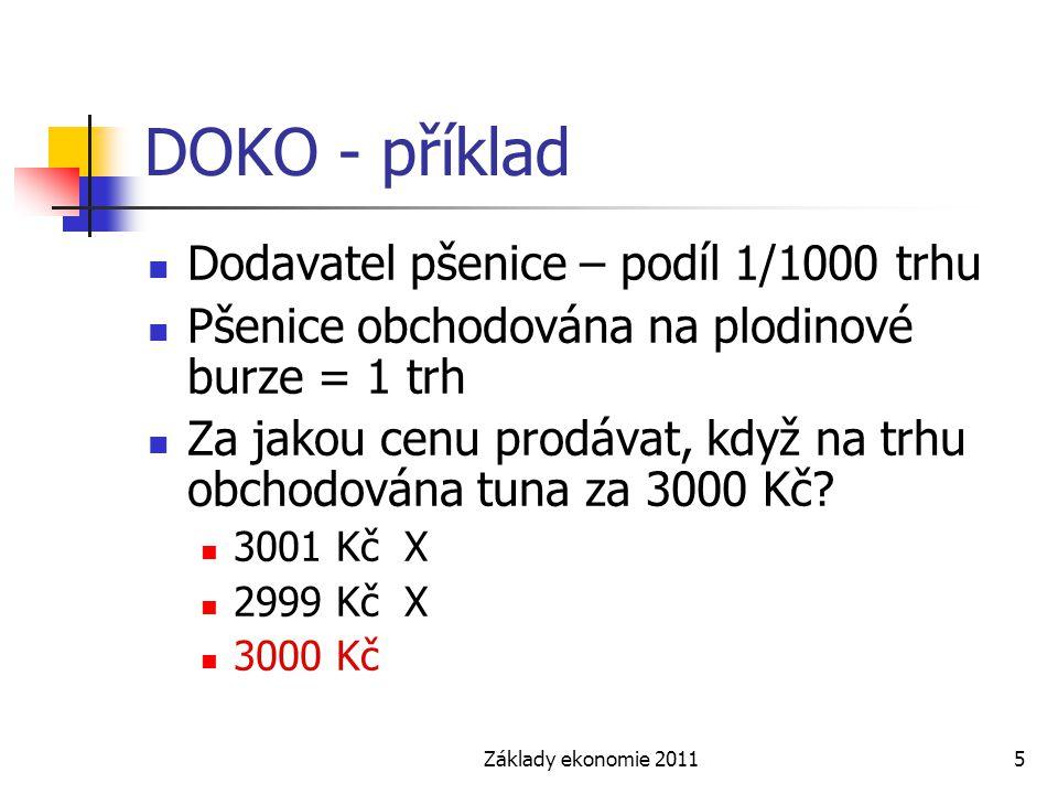 Základy ekonomie 20115 DOKO - příklad Dodavatel pšenice – podíl 1/1000 trhu Pšenice obchodována na plodinové burze = 1 trh Za jakou cenu prodávat, kdy
