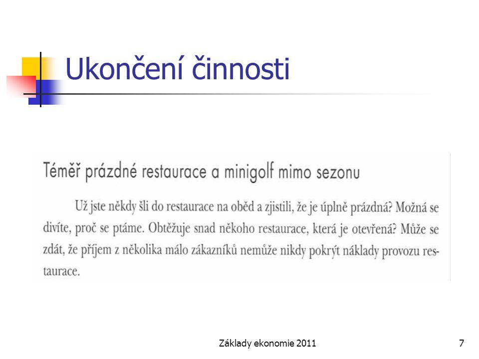 Základy ekonomie 20117 Ukončení činnosti