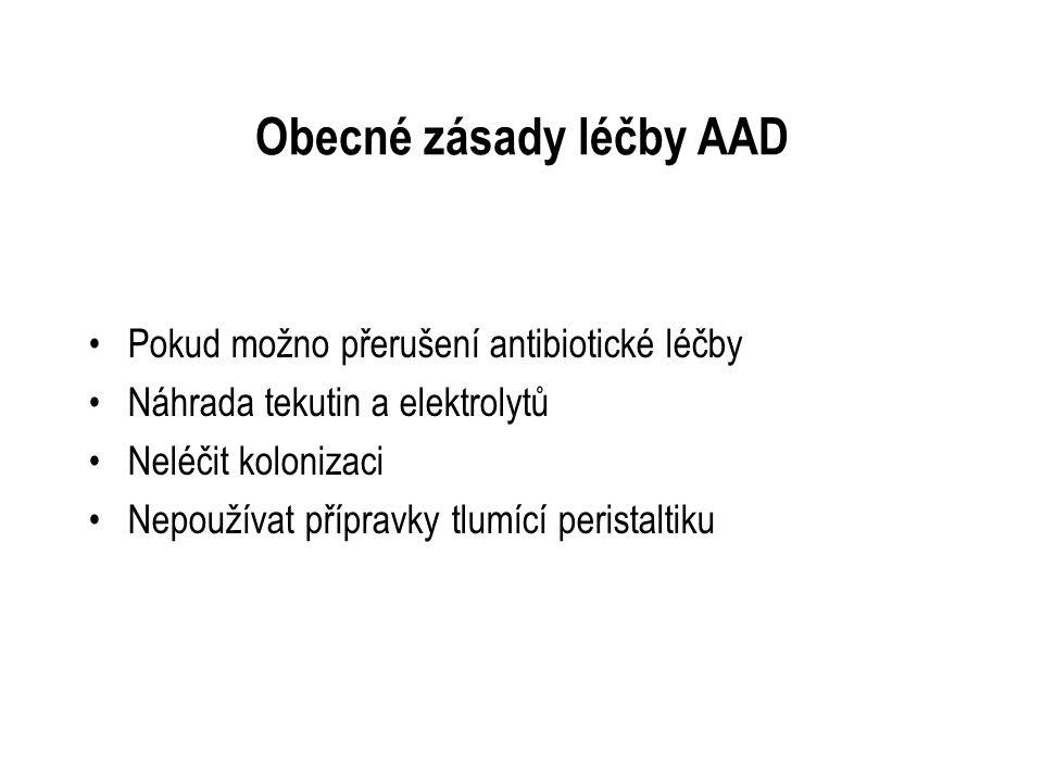 Obecné zásady léčby AAD Pokud možno přerušení antibiotické léčby Náhrada tekutin a elektrolytů Neléčit kolonizaci Nepoužívat přípravky tlumící perista