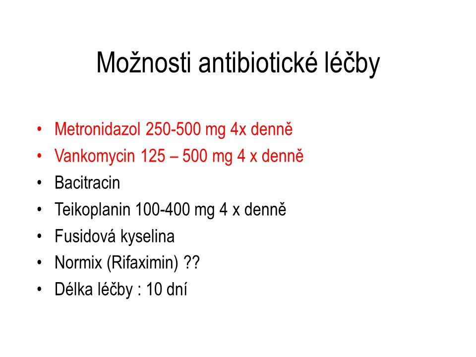 Možnosti antibiotické léčby Metronidazol 250-500 mg 4x denně Vankomycin 125 – 500 mg 4 x denně Bacitracin Teikoplanin 100-400 mg 4 x denně Fusidová ky