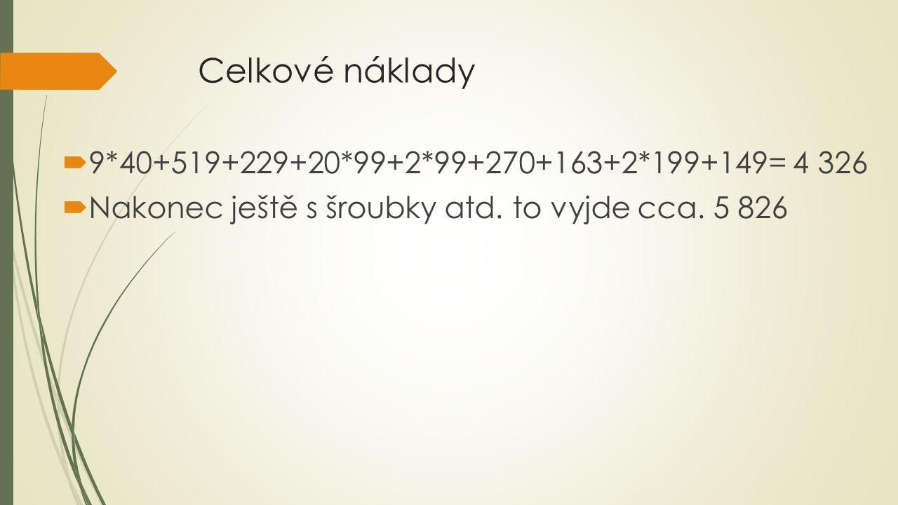 Celkové náklady  9*40+519+229+20*99+2*99+270+163+2*199+149= 4 326  Nakonec ještě s šroubky atd.