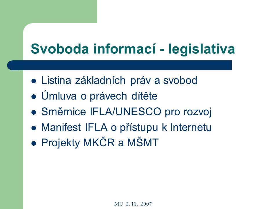 MU 2.11. 2007 Rozvoj knihovnictví Knihovní zákon č.257/2001 Sb.