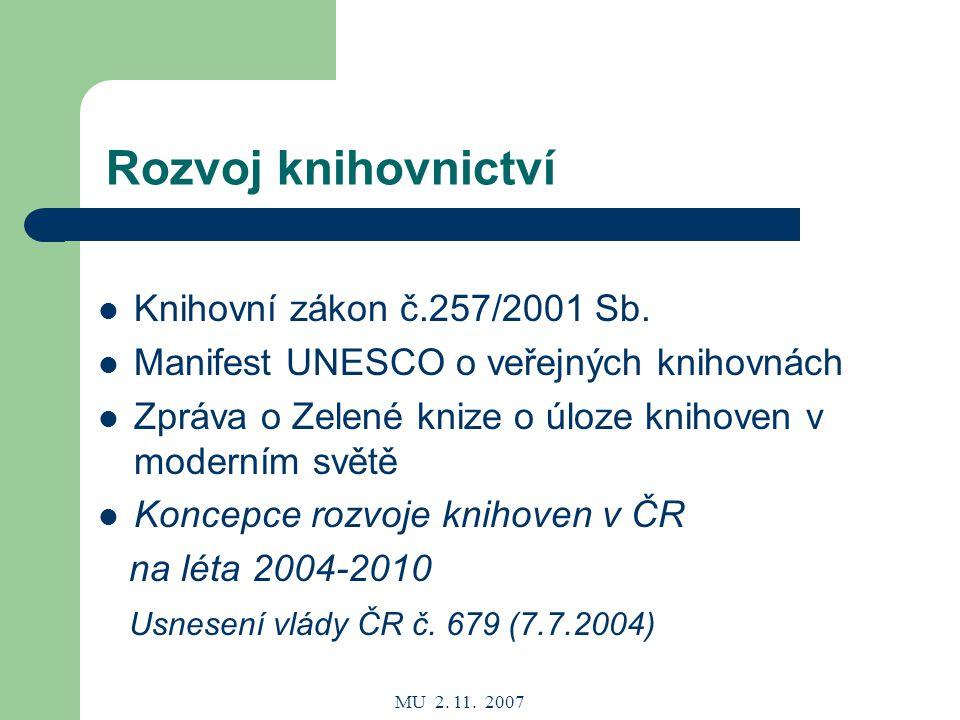 MU 2. 11. 2007 Rozvoj knihovnictví Knihovní zákon č.257/2001 Sb.