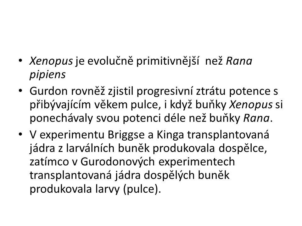 Xenopus je evolučně primitivnější než Rana pipiens Gurdon rovněž zjistil progresivní ztrátu potence s přibývajícím věkem pulce, i když buňky Xenopus s