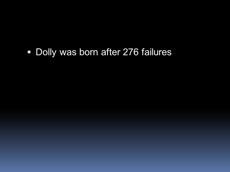  Dolly was born after 276 failures