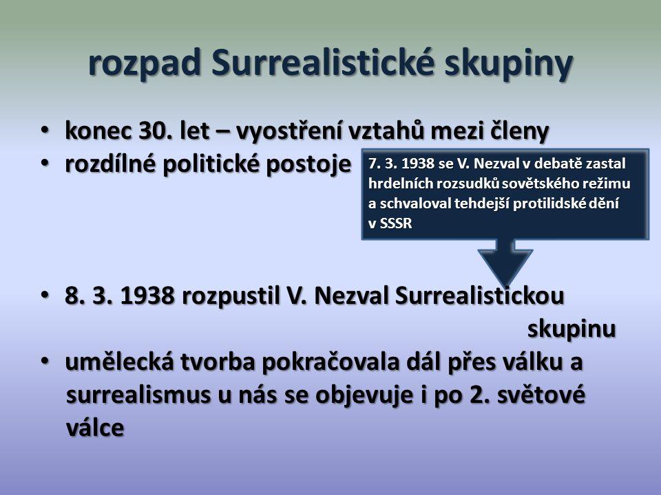 Kdo byl členem Surrealistické skupiny.Kdy se objevuje surrealismus v Čechách.