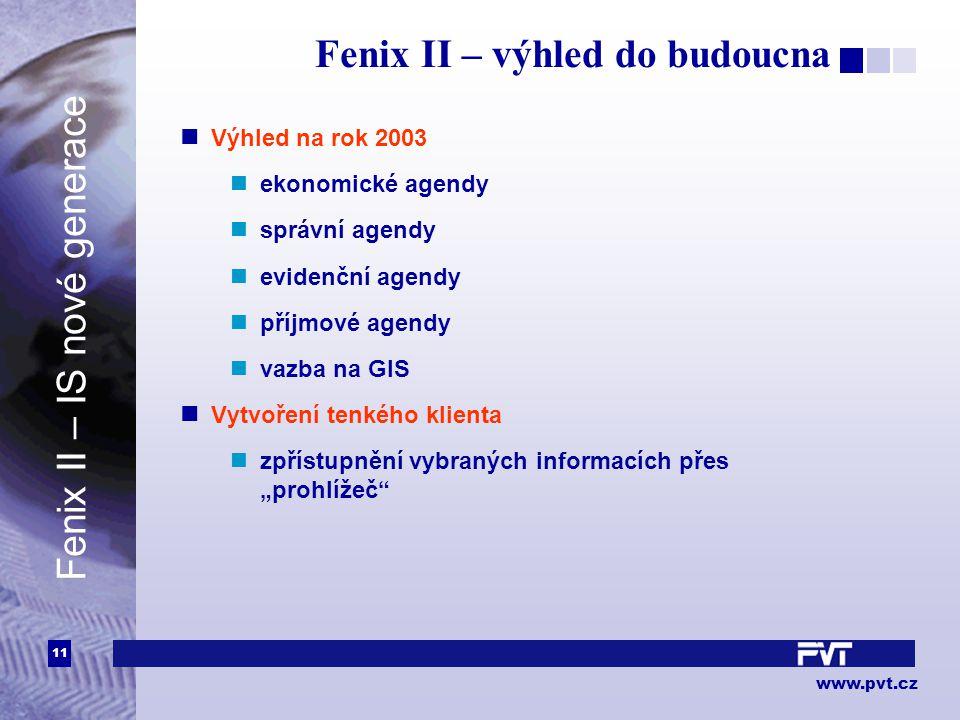 11 www.pvt.cz Fenix II – výhled do budoucna Výhled na rok 2003 ekonomické agendy správní agendy evidenční agendy příjmové agendy vazba na GIS Vytvořen