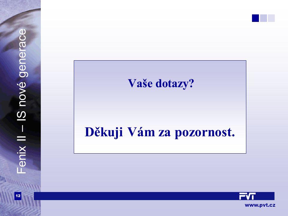 12 www.pvt.cz Vaše dotazy? Děkuji Vám za pozornost. Fenix II – IS nové generace