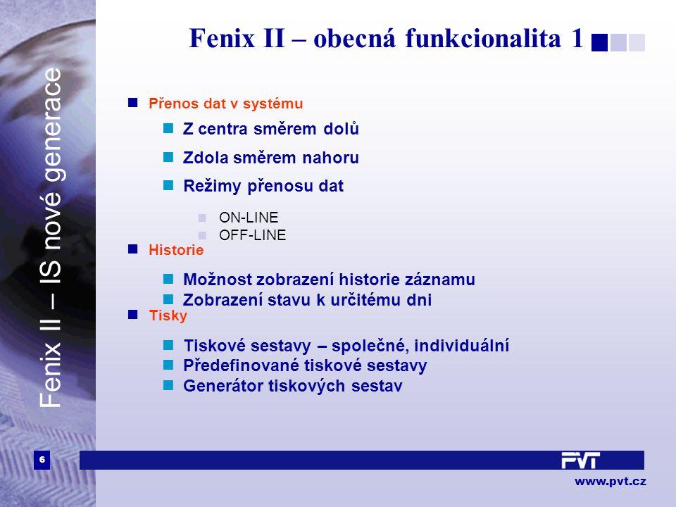 6 www.pvt.cz Fenix II – obecná funkcionalita 1 Přenos dat v systému Z centra směrem dolů Zdola směrem nahoru Režimy přenosu dat ON-LINE OFF-LINE Histo
