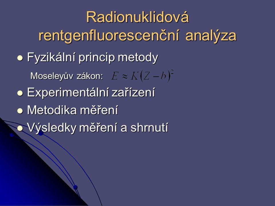 Radionuklidová rentgenfluorescenční analýza Fyzikální princip metody Fyzikální princip metody Moseleyův zákon: Moseleyův zákon: Experimentální zařízen