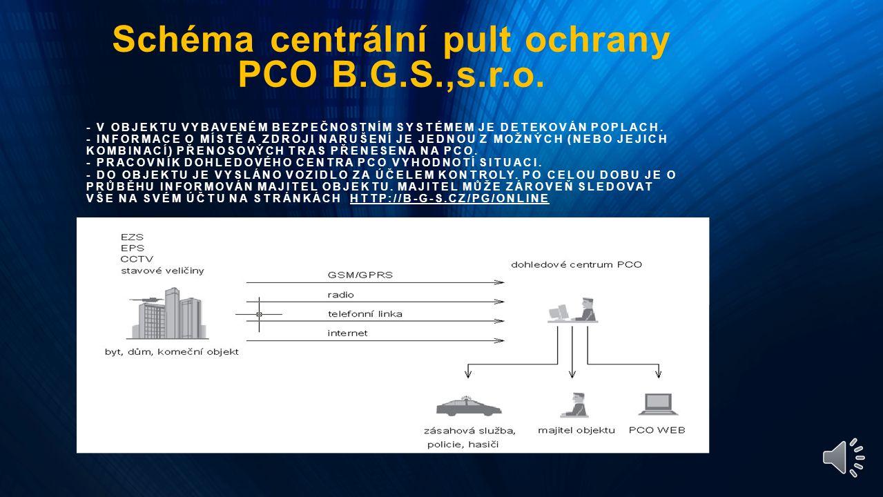 Rozložení bezpečnosti s B.G.S. programy PCO centrální pul ochrany Patrol Control systém Ostraha objektu Bezpečí s B.G.S. Ostatní Bez.Agentury PCO cen.