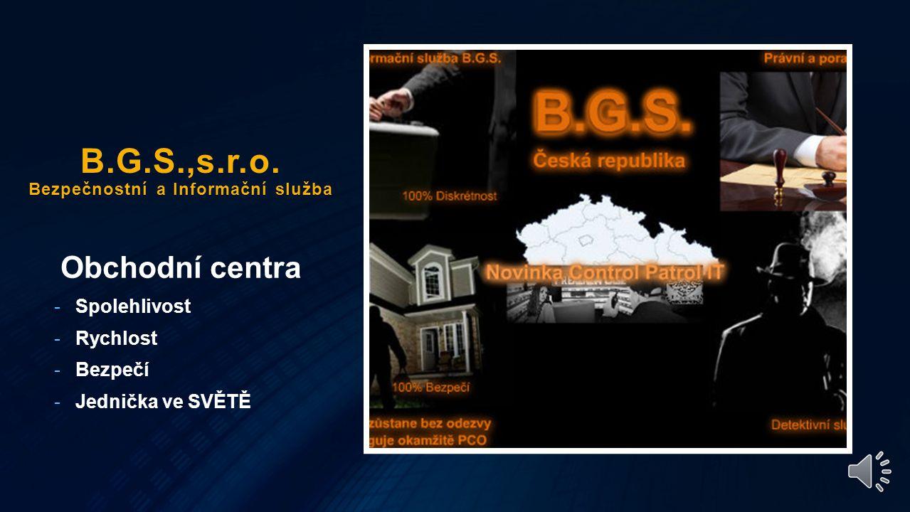Další služby - Pojištění objektu naším specialistou B.G.S. - Vnitřní pátrací a detektivní team B.G.S. - Zajištění bezpečné komunikace pro managmet spo