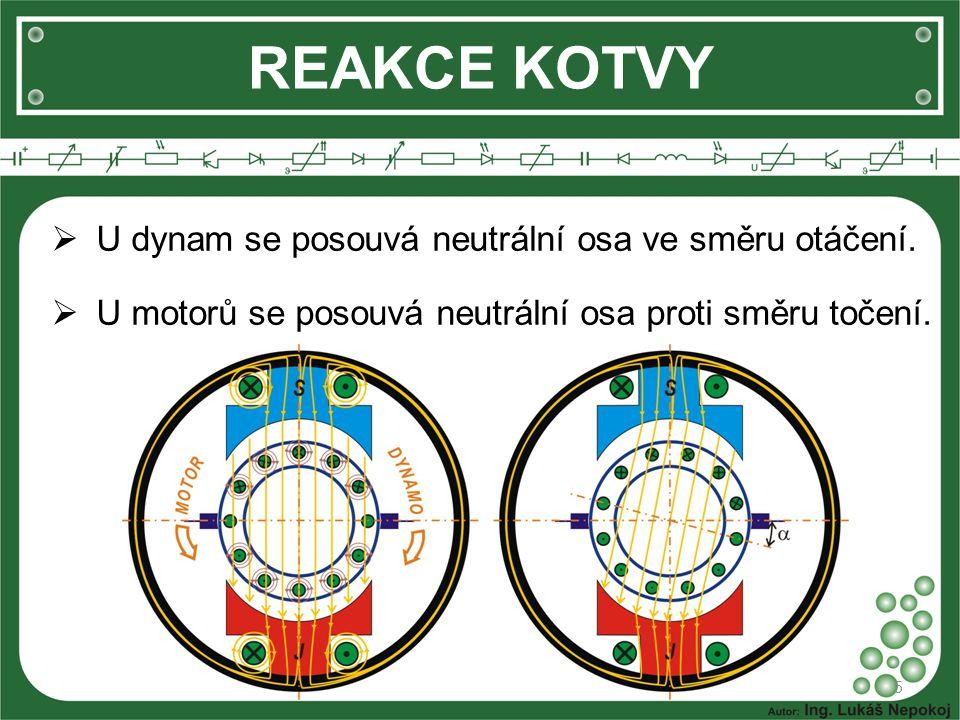 REAKCE KOTVY 5  U dynam se posouvá neutrální osa ve směru otáčení.  U motorů se posouvá neutrální osa proti směru točení.