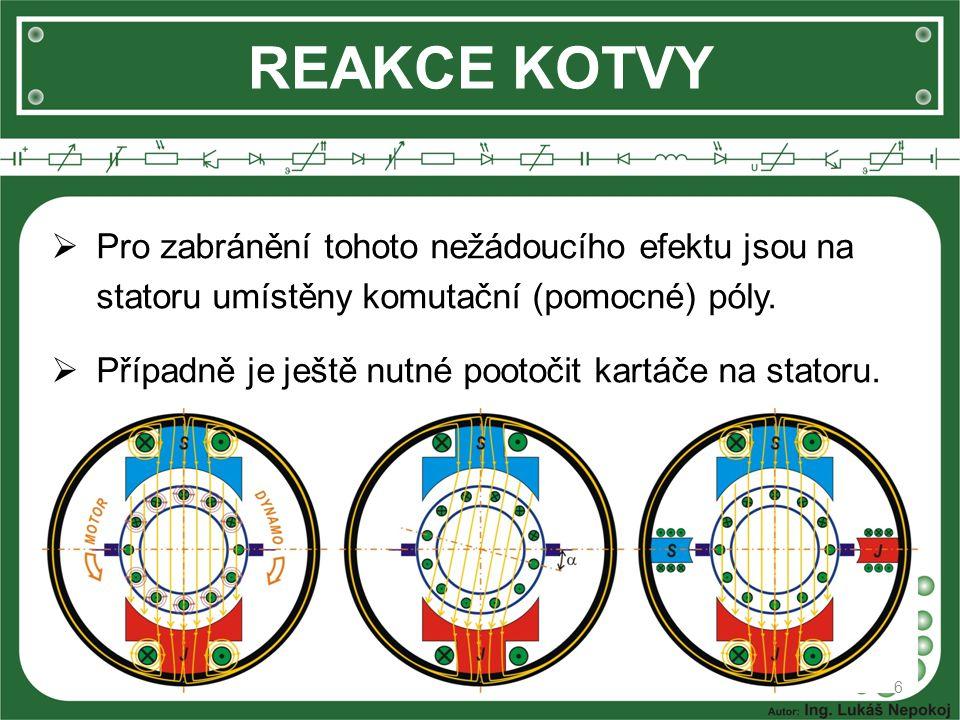REAKCE KOTVY 6  Pro zabránění tohoto nežádoucího efektu jsou na statoru umístěny komutační (pomocné) póly.